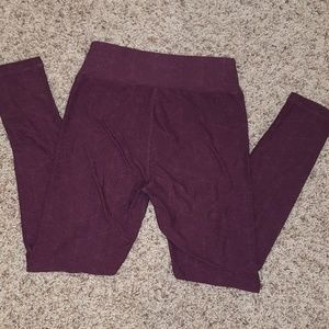 LuLaRoe OS Leggings Plum Sublte Logo Pattern